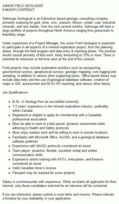 cover letter internship geologist geological engineering resume ...