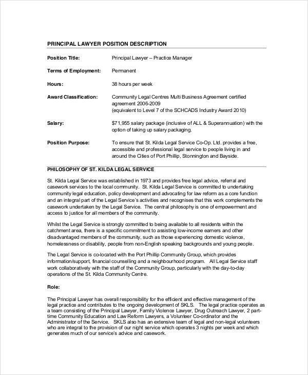 Lawyer Job Description - 10+ Free PDF, Word Documents Download ...