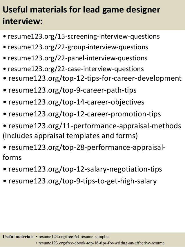 sample resume exle of video game designer resume. top 8 lead game ...