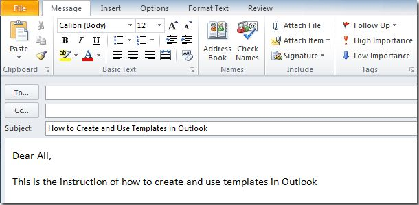 How to create and use templates in Outlook?