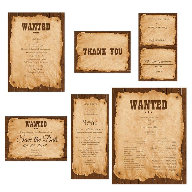 Sample - Wanted Sign - Western Wedding Invitations - Invitations by R2