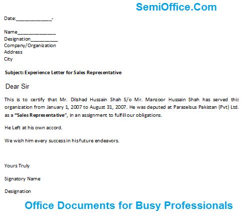 Letter for Sales Representative