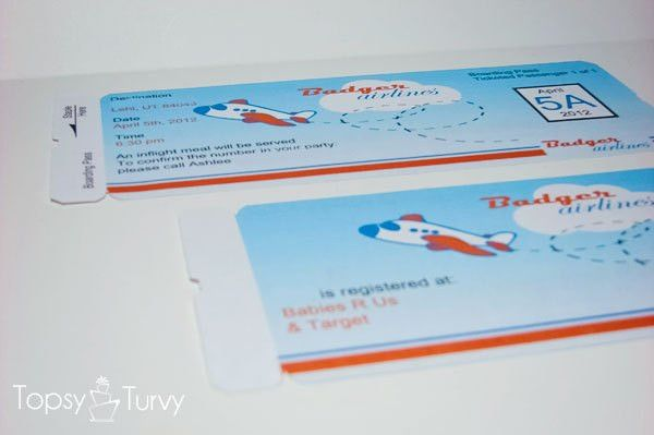 Airplane baby shower boarding pass invitations | Ashlee Marie