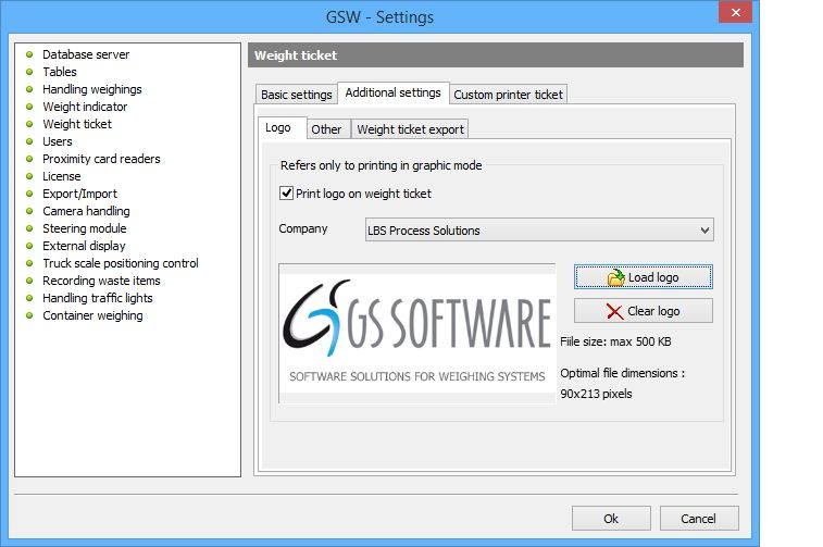 Weighing ticket print-outs - GS Software