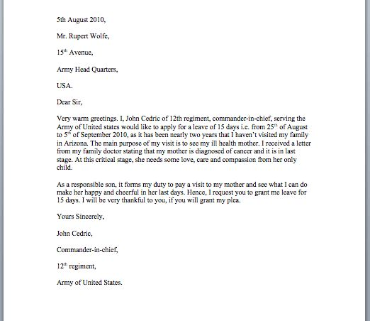 Leave Application Letter Sample – Smart Letters