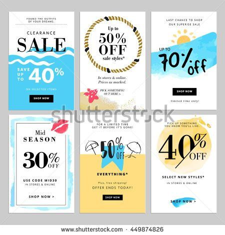 Set of season sale banner templates. Vector illustrations for ...