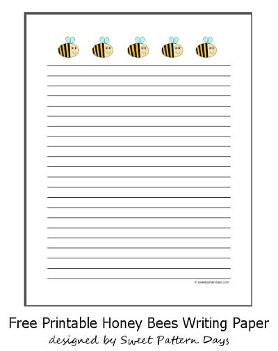 Cute Honey Bees Lined Writing Paper | Stationery Printables ...