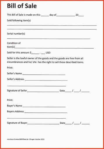 BILL OF SELL FORM | Proposalsheet.com