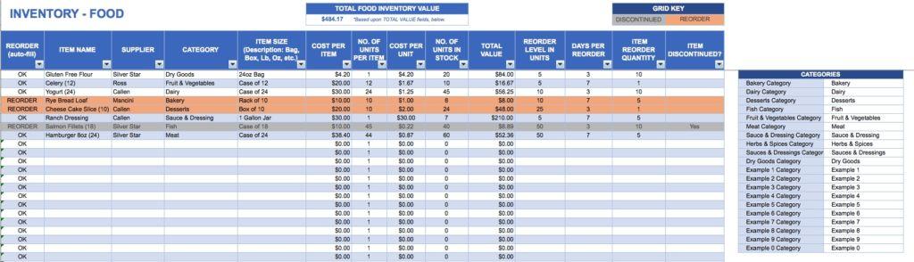 Free Excel Inventory Templates With Regard To Restaurant Kitchen ...