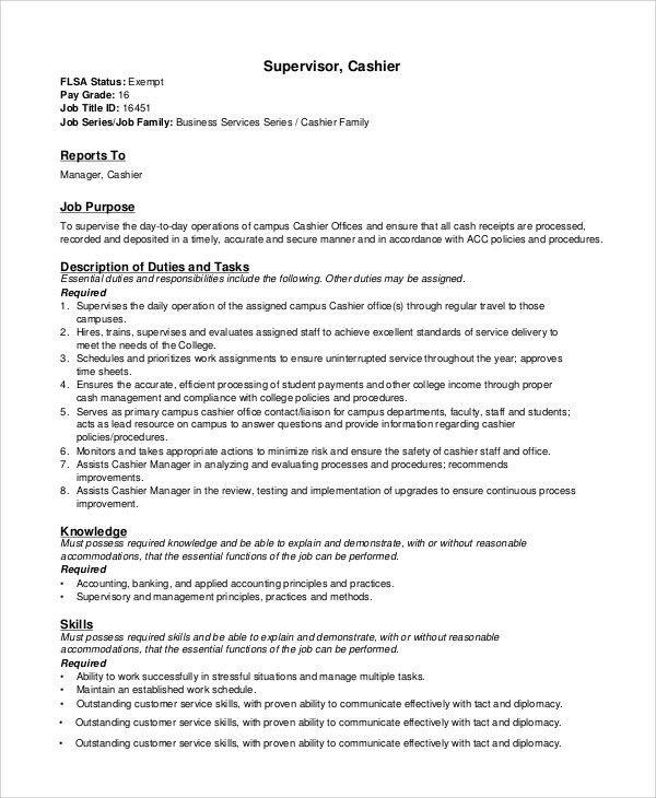Sample Cashier Job Dutie   7+ Documents In Word, PDF