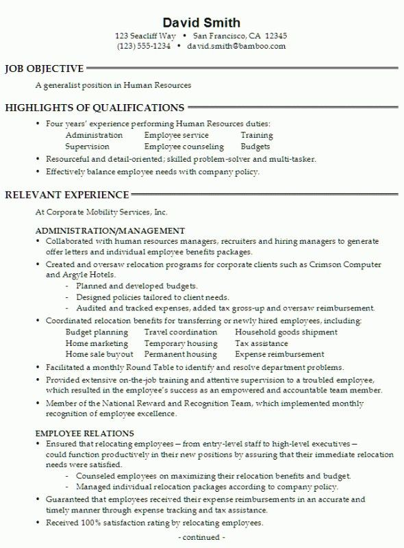 Hr Resume Sample – Resume Examples