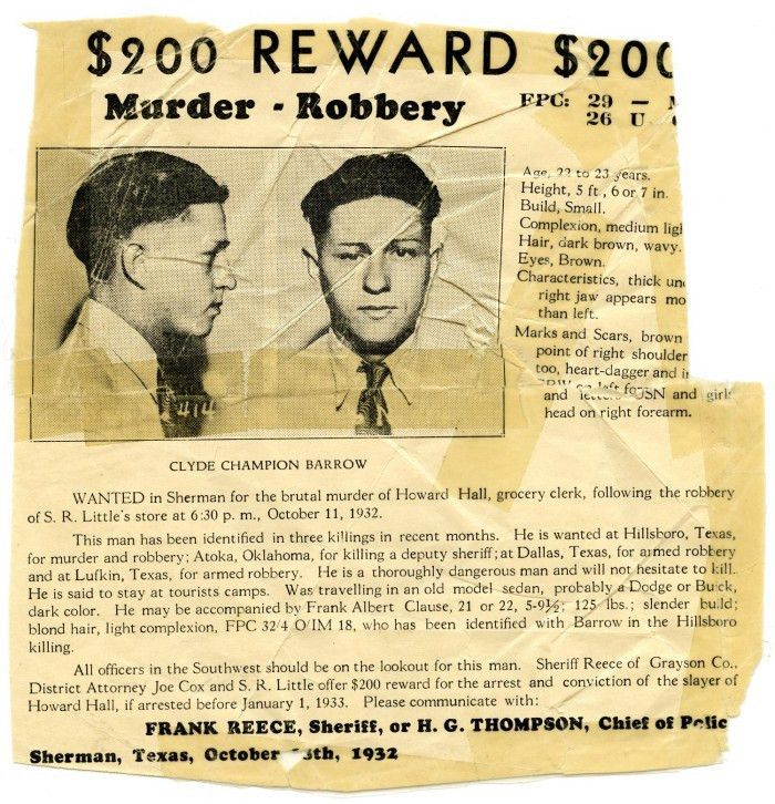 Clyde Champion Barrow Wanted Poster, 1932 - Sherman, Texas] - The ...