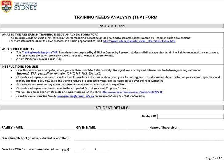 Training Needs Assessment Template. Training Needs Analysis ...