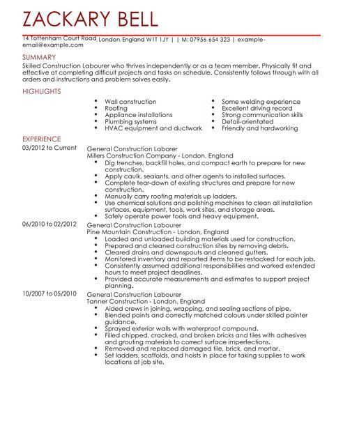 Carpenter Construction Worker Resume Sample Free : Vinodomia
