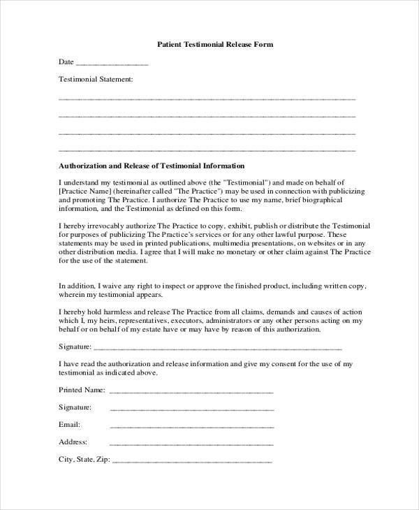 19 Free Patient Release Forms