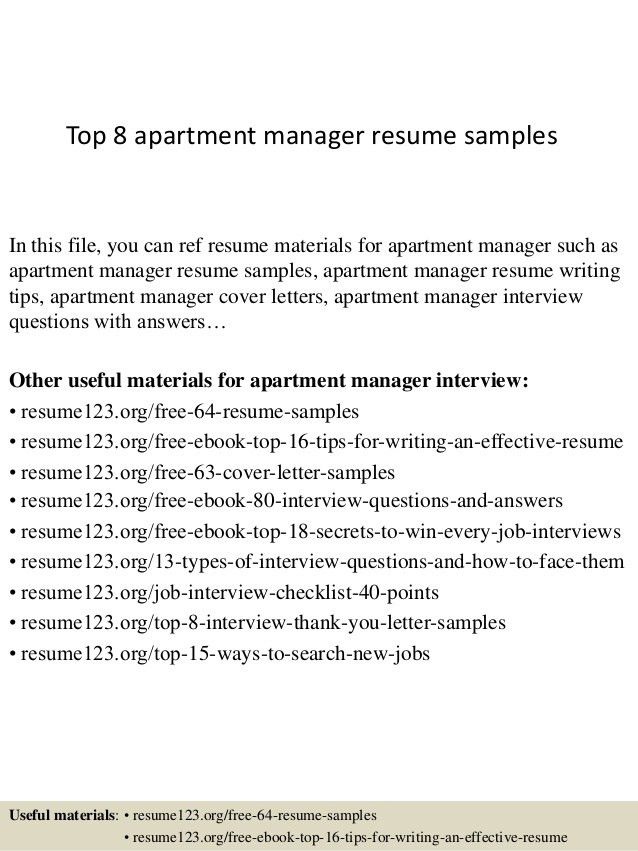 top 8 apartment manager resume samples in this file you can ref ...