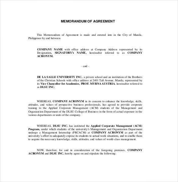 11+ Memorandum of Agreement Templates – Free Sample, Example ...