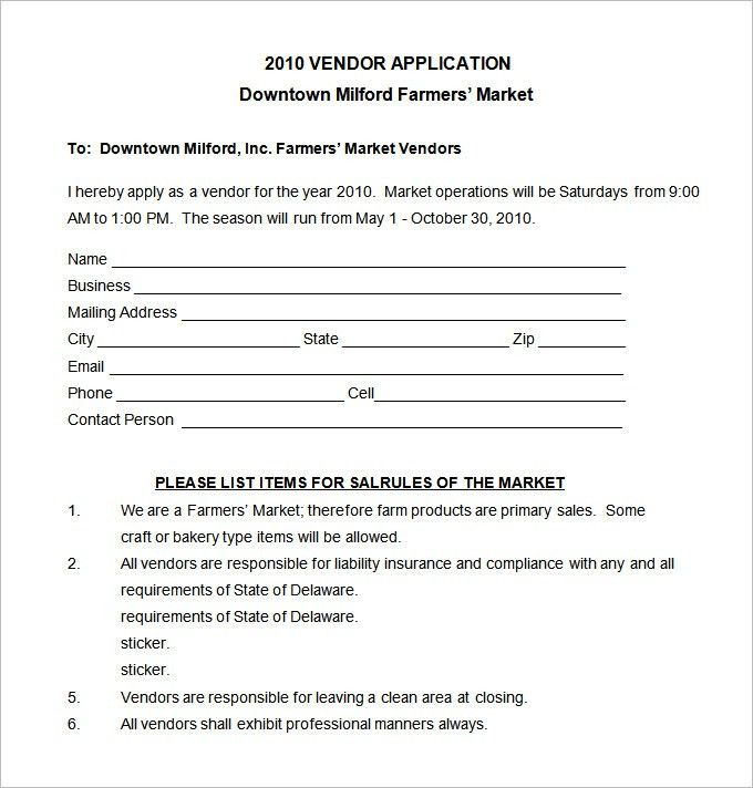 Vendor Application Template – 12+ Free Word, PDF Documents ...