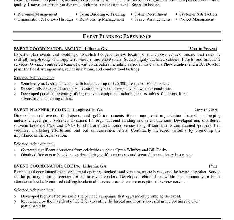 Bold Design Event Planner Resume 10 Planning - Resume Example
