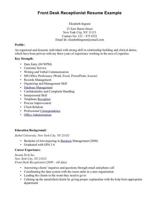 The Most Awesome Front Desk Receptionist Resume Sample | Resume ...