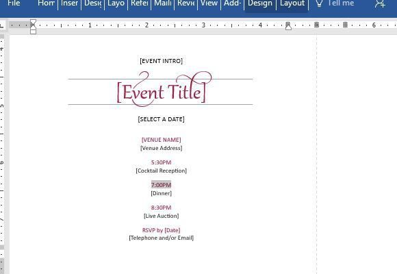 Elegant Party Invitation Template For Word