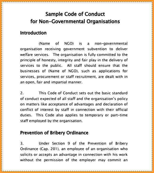 CODE OF CONDUCT EXAMPLES | letter format mail