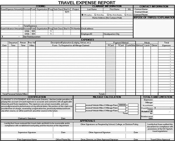 Sample Travel Expense Report Form   Sample Forms