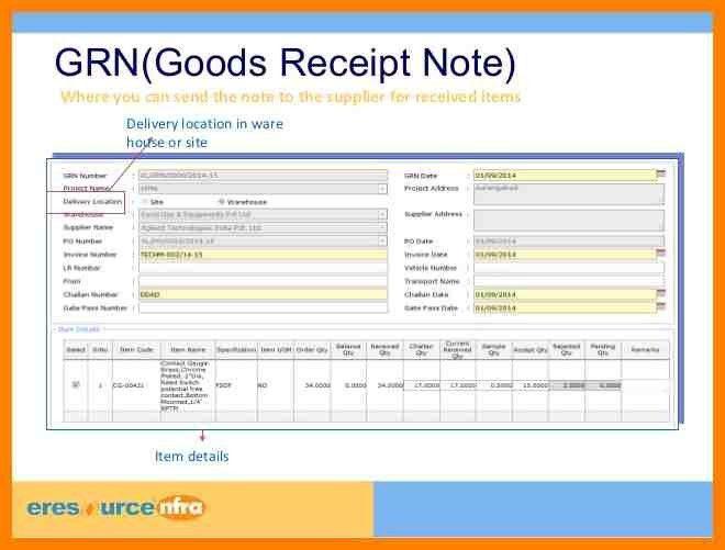 4+ goods receipt note format | formatting letter