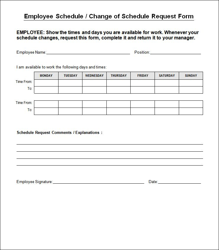 Employee Schedule Change Form