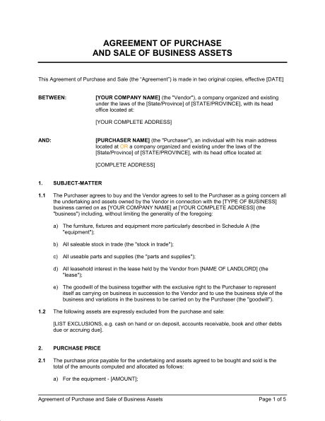 Agreement of Purchase and Sale of Business Assets - Template ...