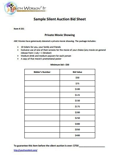 Silent Auction Bid Sheet. Silent Auction Bid Sheet Word Template ...