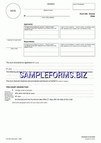 Ontario Divorce Papers templates & samples forms