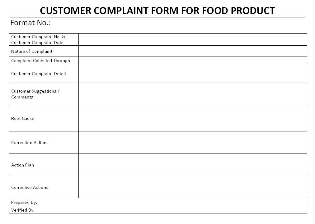 Customer Complaint Form for Food Product: ISO 22001 Formats download