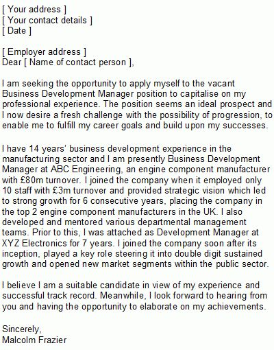 Business Development Manager Covering Letter Sample