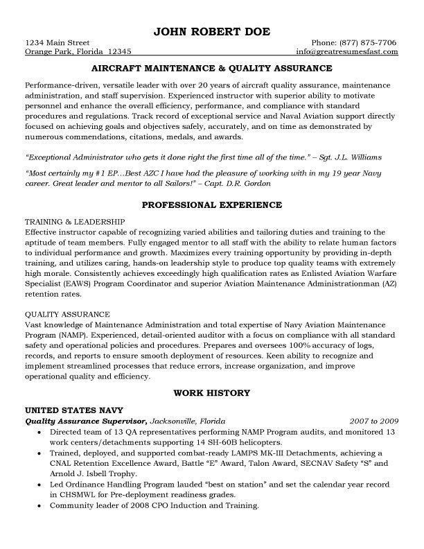 Maintenance and Quality Assurance Resume