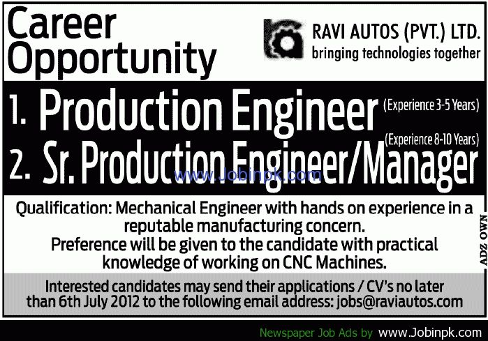 Ravi Autos Pvt Ltd Job, Production engineer, Sr Production ...