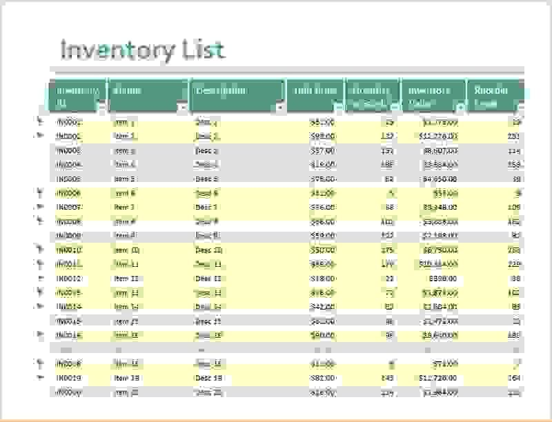 6+ inventory spreadsheet excel | Procedure Template Sample