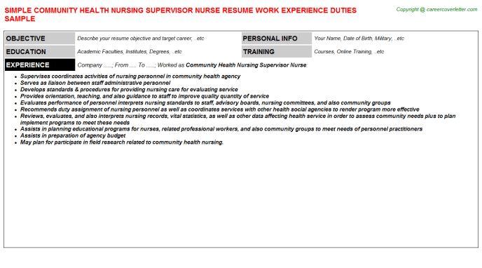 Community Health Nursing Supervisor Nurse Job Title Docs