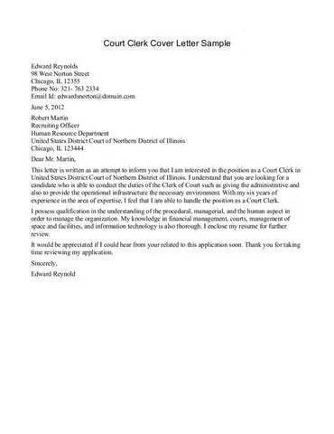 Pit Clerk Cover Letter