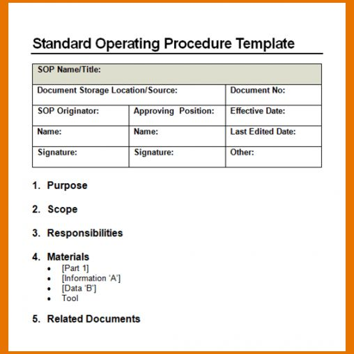 Template For Sop Format. 37 best free standard operating procedure ...
