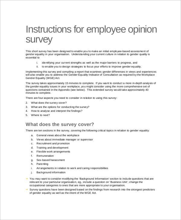 Employee Survey Sample - 8+ Documents in Word, PDF