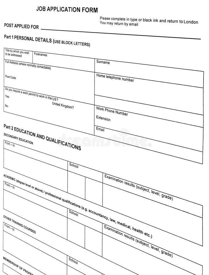 Looking For Job, Resume Blank Form, Isolated, Royalty Free Stock ...