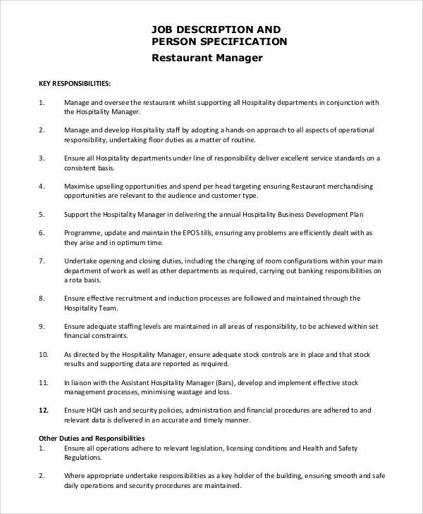 assistant restaurant manager job description