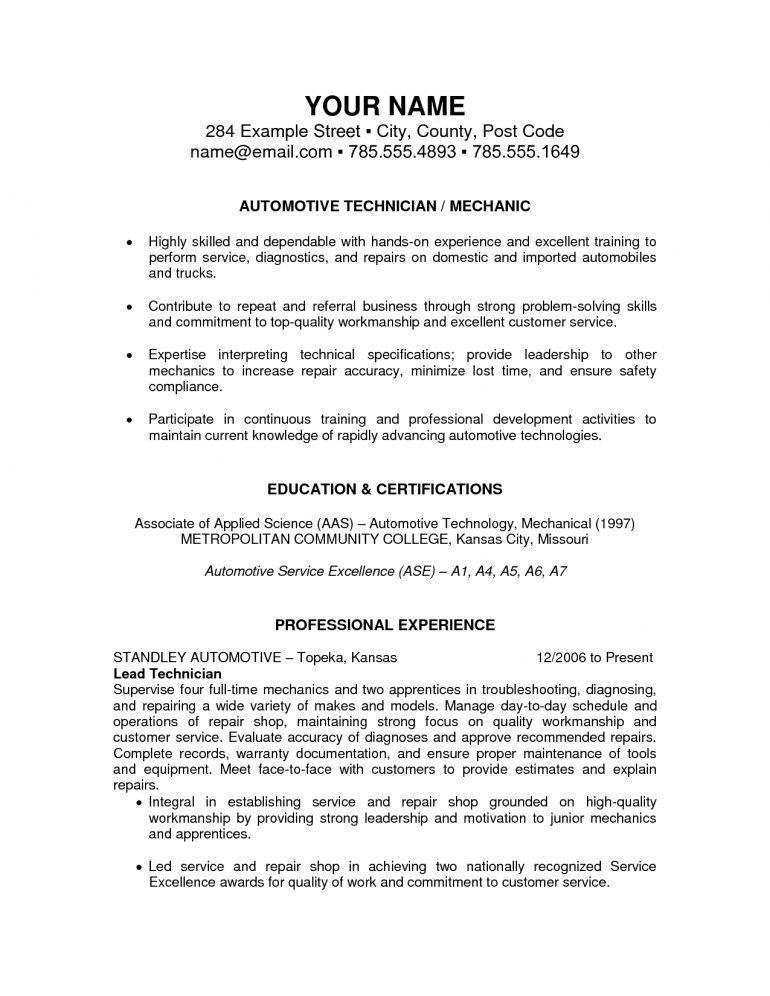 Auto Mechanic Description Resume - Schoodie.com