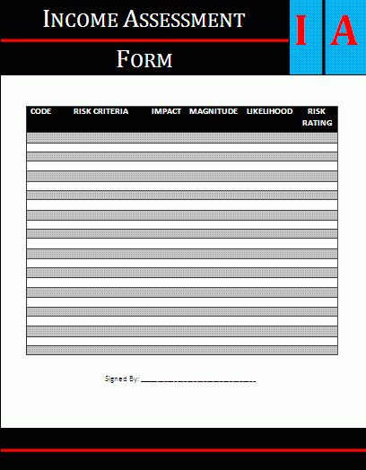 Income Assessment Form | A to Z Free Printable Sample Forms