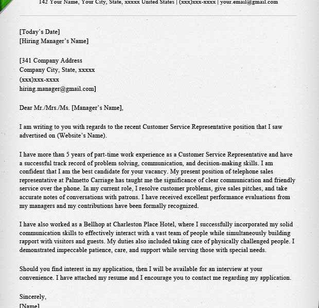 Cover Letter Customer Service Representative | Samples.csat.co