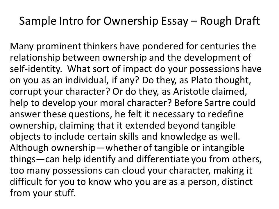Sample Intro for Ownership Essay – Rough Draft - ppt video online ...