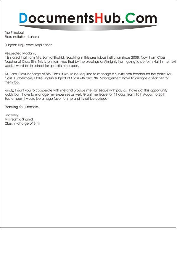 Hajj Leave Application for Teacher Sample