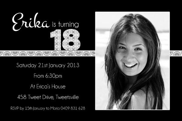 Black And White 18th Birthday Invitation Templates For Girls | ART ...