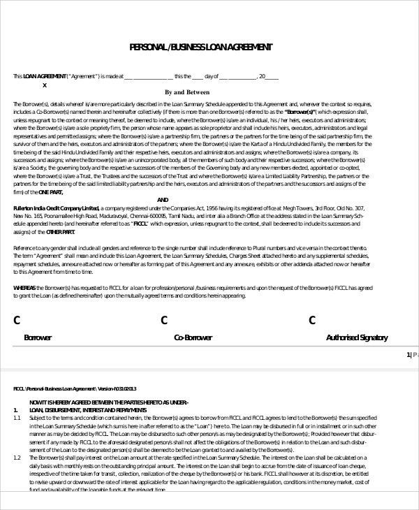 25+ Loan Agreement Templates | Free & Premium Templates
